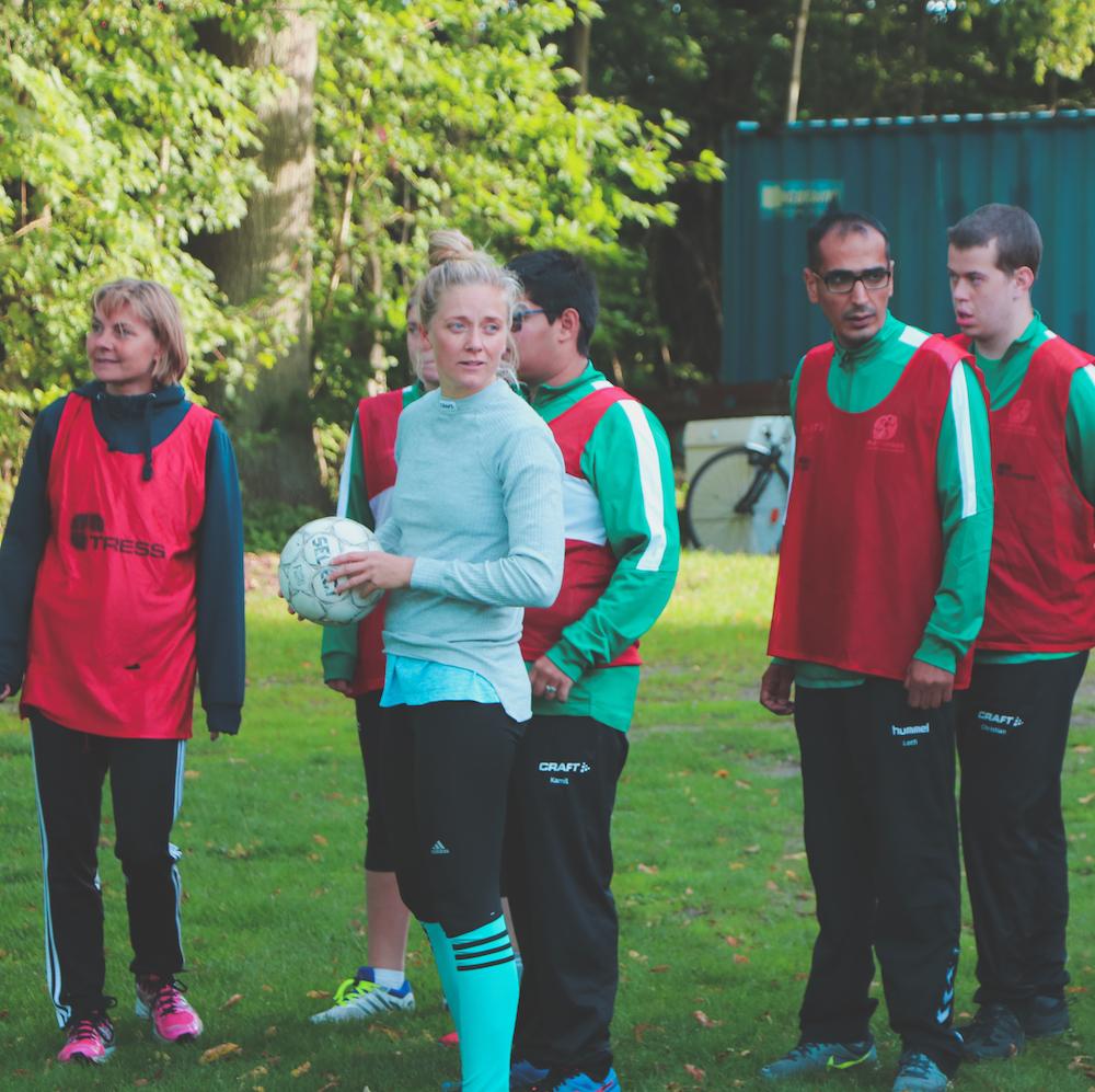 Fodboldsspillere klar til kamp